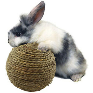 Natural Woven Straw Dried Grass Ball 6cm for Pet Rabbit Guinea Pig Chew Toy UK