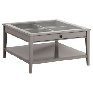 LIATORP Ikea glass top coffee table, gray, excellent condition