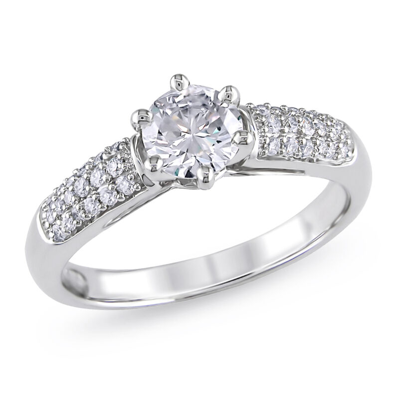 Amour 1 Ct Tw Diamond Pave 6-prong Engagement Ring In 14k White Gold