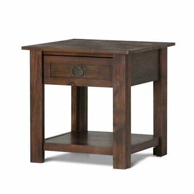 Simpli Home Monroe Solid Acacia Wood End Table, Distressed