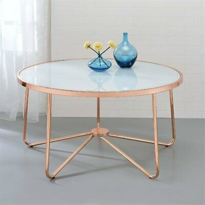 Bowery Hill Coffee Table in Frosted Glass and Rose Gold