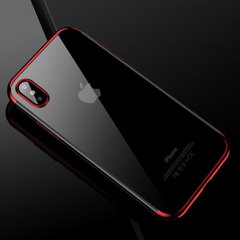 For iPhone X XS Max XR Shockproof Plating Clear Slim Hybrid Bumper Case Cover