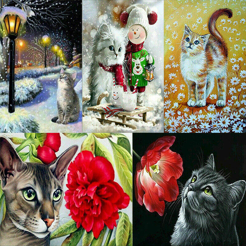 UK Lovely Small Cat Full Drill 5D Diamond Painting Embroidery Cross Stitch OT