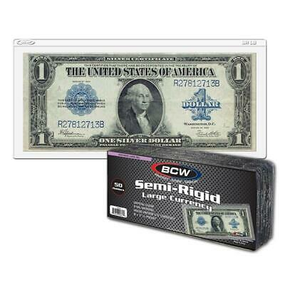 50 BCW Semi Rigid Large Bill Holder Currency Holder
