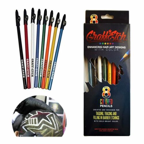 GraffEtch -  8 Pencils Colorate per Hair Tattoo Graffiti TATUAGGI CAPELLI MATITE