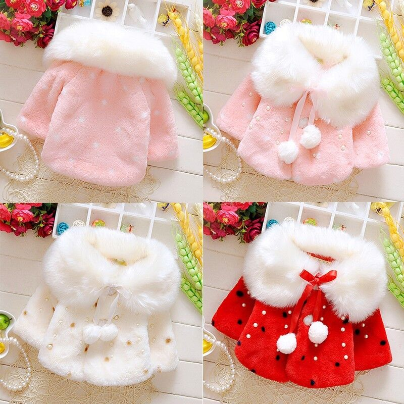 Baby Girl Warm Shawl Winter Toddler Coat Cloak Jacket Fur Outerwear Clothes 0-3Y