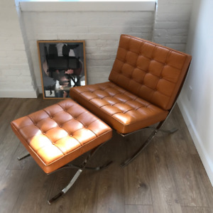 Leather Barcelona Chair and Ottoman