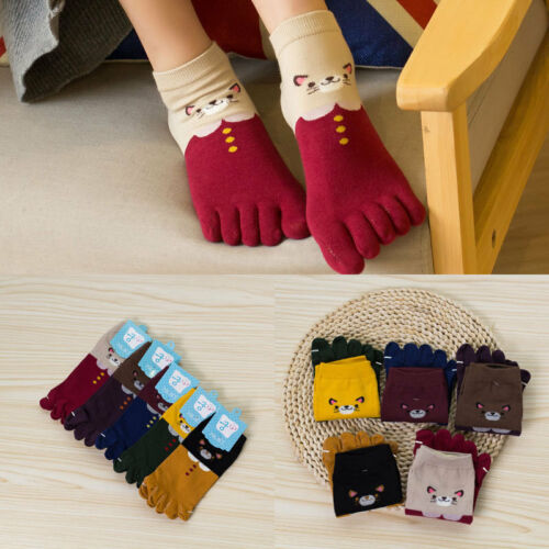 5 Pairs Women Cotton Toe Five Finger Socks Breathable Ankle