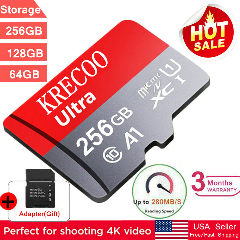 New 256GB/128GB/64GB Micro SD Memory Card Class10 4K Flash TF Card with Adapter