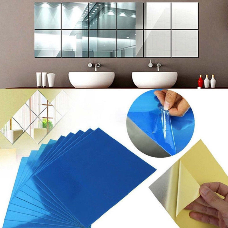 Home Decoration - 4pcs 3D Wall Stickers Square Mirror  Mosaic Tile DIY Decal Home Room Decor