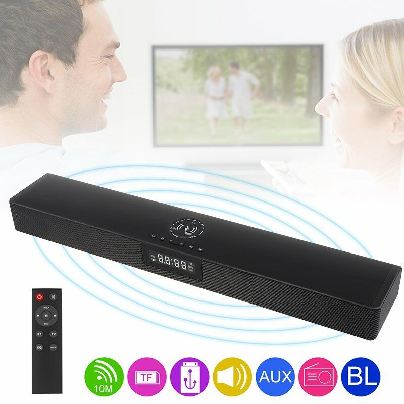 Bluetooth+Speaker+Surround+Soundbar+LED+Clock+Qi+Wireless+Charger+with+Remote