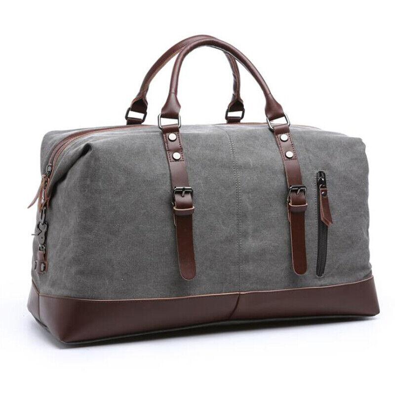 Classic Men's Canvas Leather Travel Duffle Bag Shoulder Week