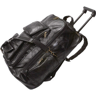 Leather Backpack Wheels (NEW Genuine Leather Backpack Cart. Traveling Bag.Telescoping Handle.on Wheels. )