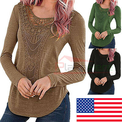 $12.99 - New Fashion Women Loose Long Sleeve Tops Blouse Shirt Casual Cotton T-Shirt