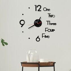 3D Large Wall Clock Frameless Mirror Number Sticker Modern Art Decal Home Decor