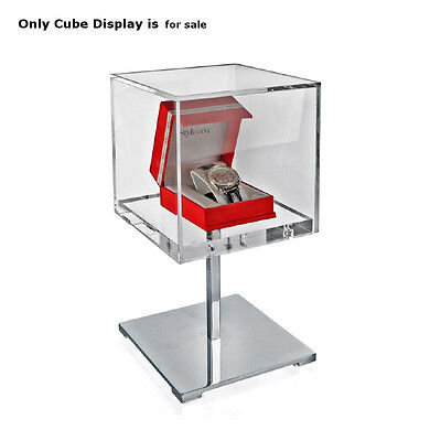 Clear Cube Covered 13.5 Inches Jewelry Display Case For Counter Top