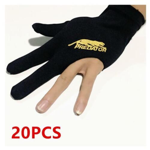 20pcs 3 Fingers Billiards Snooker Gloves Pool Cue Gloves Black Left Hands