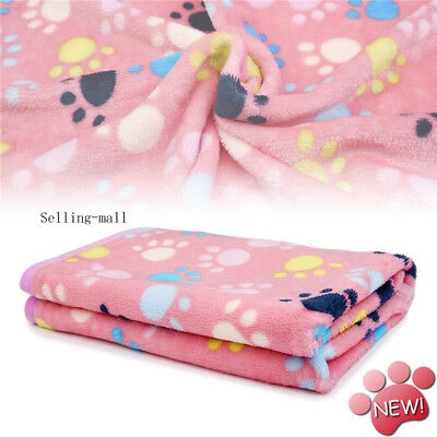 Pet Small Medium Large Paw Print Pet Cat Dog Fleece Soft Warmer Blanket Beds Mat