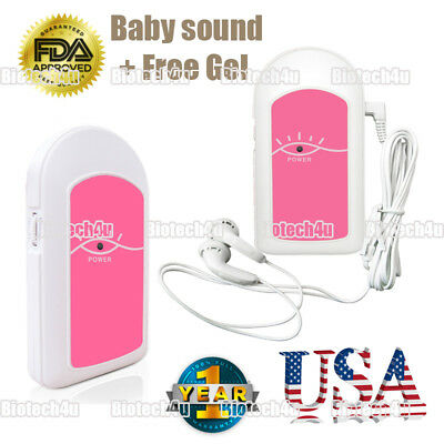 Contec Pocket Fetal Doppler Prenatal Baby Heart Beat Monitor Gel Baby Sound A