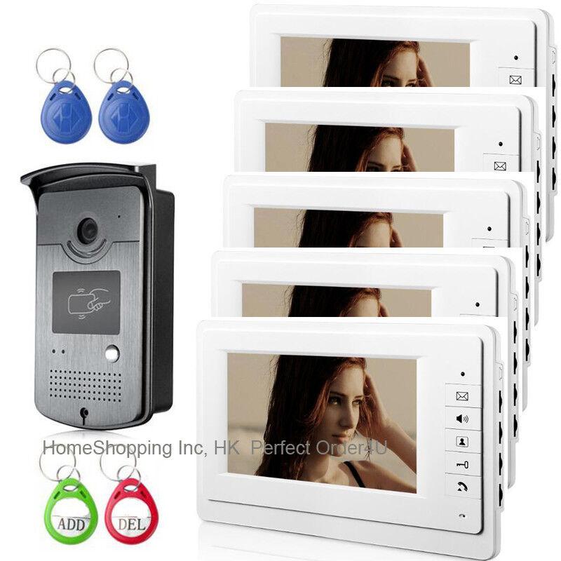 "WIRED 7"" VIDEO DOOR PHONE INTERCOM SYSTEM+RFID CARD ACCESS CAMERA+5 MONITORS 1V5"