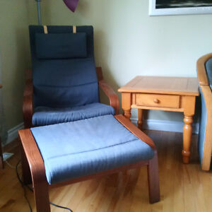 Blue Ikea Paong and Foot stool