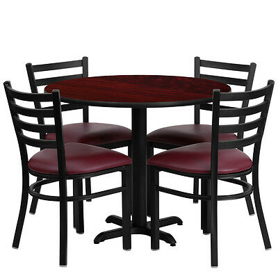 Restaurant Table Chairs 36 Mahogany Laminate With 4 Ladder Metal Burgundy Vinyl