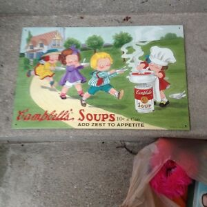 ANTIQUE CAMPBELL'S SOUP METAL TRAY, MUGS,THERMOS& METAL PICTURE London Ontario image 6