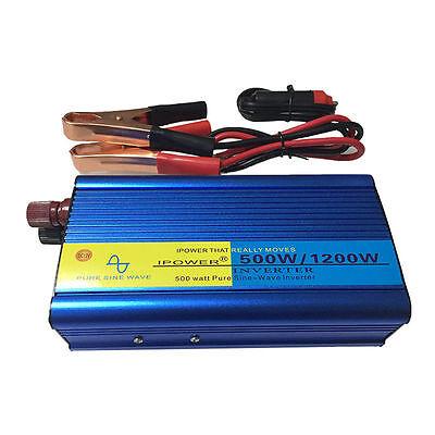 500W/1200W Peak Pure Sine Wave Power Inverter DC 12V to AC 230V New Car Caravan