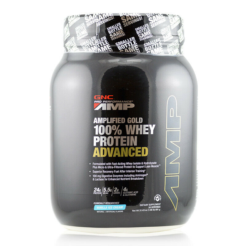 GNC Pro Performance AMP Amplified Gold 100 % Whey Protein Ad