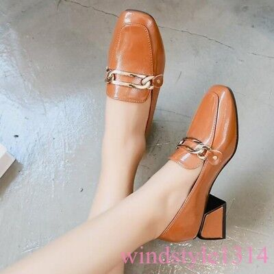 Womens Block High Heel Square Toe Trendy Leather Casual Shoes Loafer Pull On -
