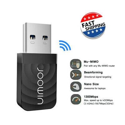 1200Mbps USB3.0 Wireless WiFi Adapter Dongle Dual Band 5G/2.4G Desktop Laptop PC