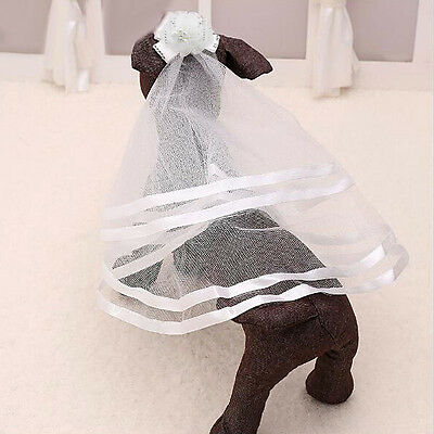 Pet Dog Puppy Cat Headdress Wedding Veil Headwear Hair Clips