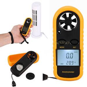 LCD Digital Handheld Anemometer Wind Speed Velocity Meter Thermomoter Sailing