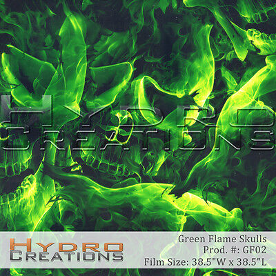 Hydrographic Film For Hydro Dipping Water Transfer Film Green Flame Skulls