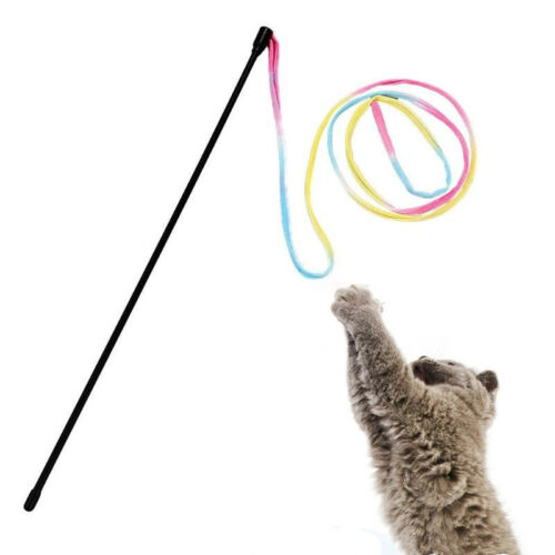 Colorful Cloth Teaser Training Plastic Stick Wand Toy For Pet Cat Funny