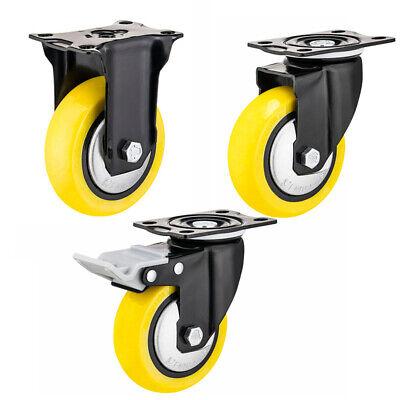 Yl Heavy Duty Swivel Plate Casters 3 4 5 Polyurethane Wheels Total Lock Brake