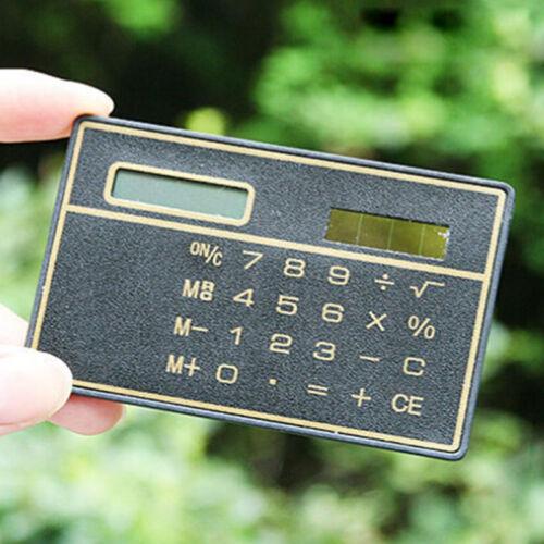 Stylish Slim Credit Card Solar Power Pocket Basic 8-Digit Calculator Device