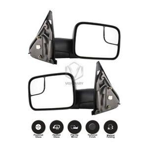 Dodge Ram 1500 2500 3500 Towing Mirrors Pair Power Heated Flip-Up Black 2002-08