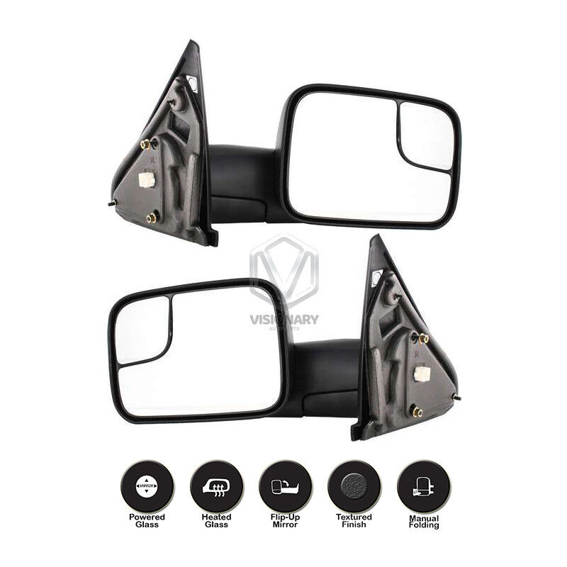 Right Passenger Side Power+Heated Flip Up Towing Mirror for 02-09 Ram 1500 2500