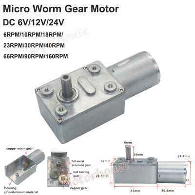 Dc 6v 12v 24v Mini Micro 370 Electric Worm Gear Motor Metal Gearbox Large Torque