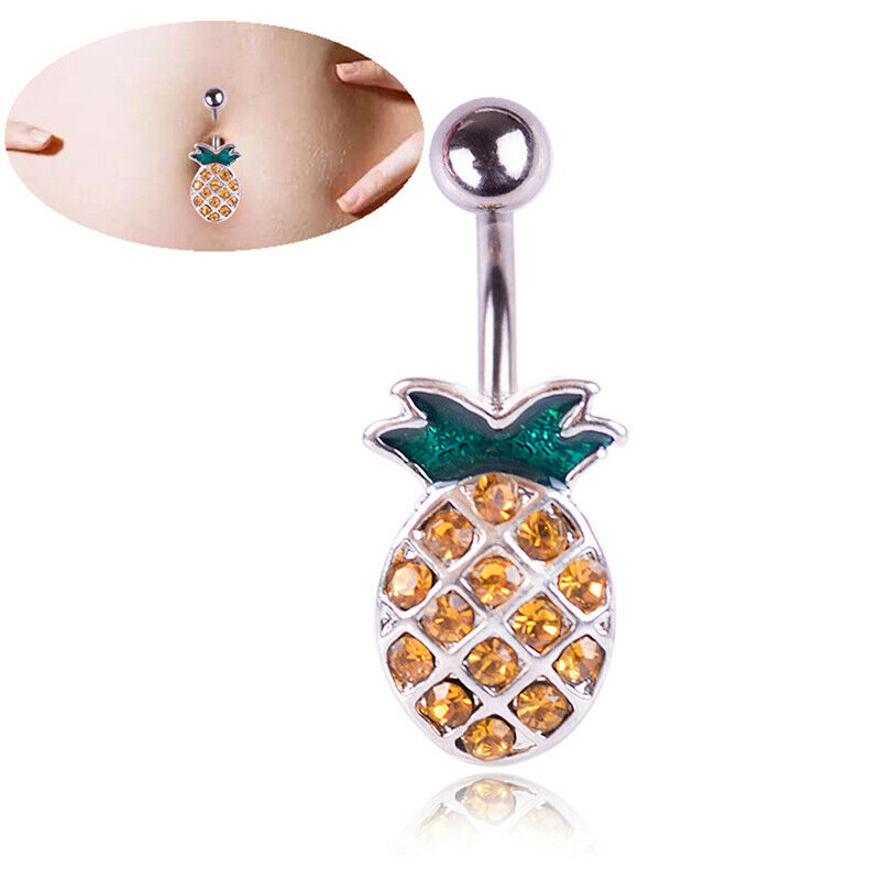 AMAZING 14G Surgical Steel Pineapple Navel Rings Belly Button Ring Body Piercing