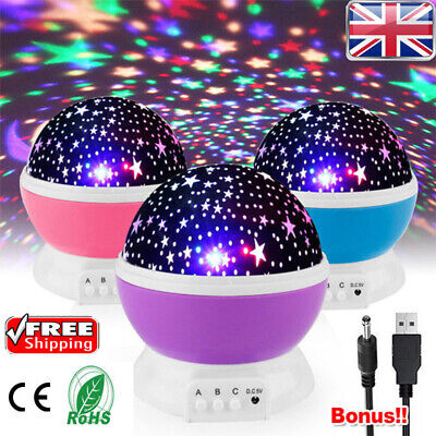 Rotating LED Light Projector Star Moon Sky Baby Kids Night Mood Lamp Xmas Gift