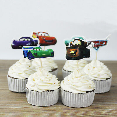 24pcs Cars Disney Cupcake Cake Toppers Muffin Decoration Boy Kids Birthday Party