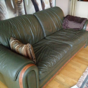 Set - Green Leather Couch, Animal Print Love Seat and Armchair