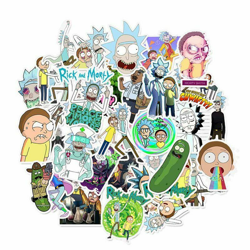 Home Decoration - 35 Pcs Rick and Morty Doodle Stickers Cartoon Trolley Case Laptops Ipad Luggages