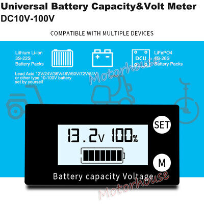 Universal Digital Lcd Battery Capacity Level Percentage Voltage Meter Indicator