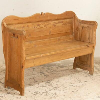 "circa 1880 heart pine church pew bench COMFORTABLE seat w cushion 117"" L x 37"" h"