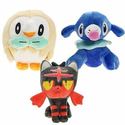 """New Of Rowlet Litten Popplio Plush Toys 7.8"""" Sun Moon Pokemon Starter Dolls"""