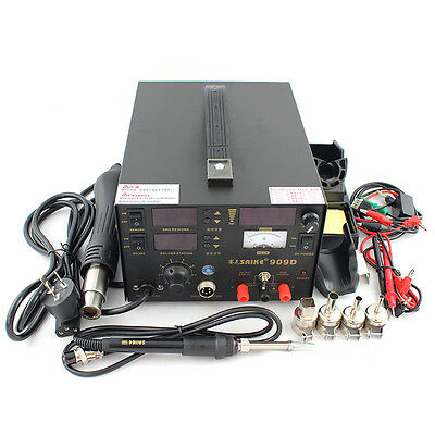 Saike 909d 3 In 1 Iron Solder Hot Air Gun Soldering Rework Station 110v Us Plug