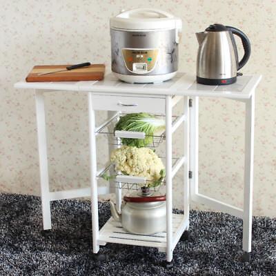 Folding Rolling Kitchen Island Cart Trolley Portable Basket Shelf Storage Table